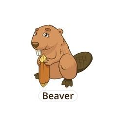 Forest animal beaver cartoon for children vector image vector image