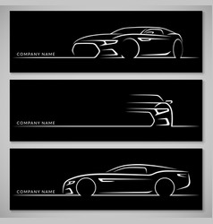 modern sports car silhouettes background vector image