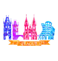 traditional symbols of prague in the polygonal vector image