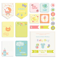 Baby Shower or Arrival Set - Tags Banners vector image