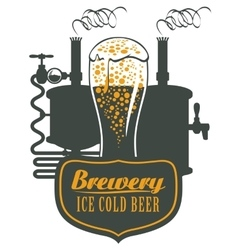 Glass of beer and brewing machine vector