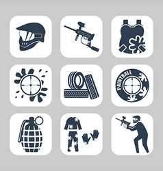 Paintball related icon set vector image