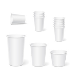 Paper coffee cups on a white background vector image