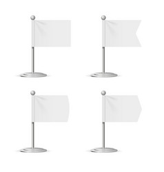realistic template blank white flags pocket table vector image