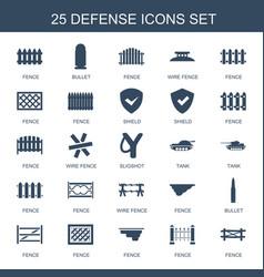25 defense icons vector