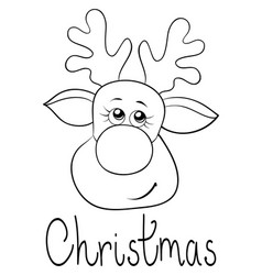 a christmas head of deer with lettering image for vector image