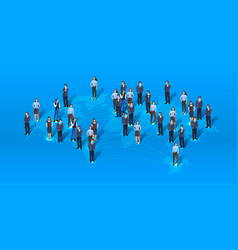 a group people are getting to business global vector image