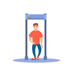 A man walks through a metal detector vector