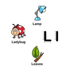 Alphabet letter l-lamp ladybug leaves vector