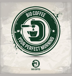 alternative bio coffee stamp vector image