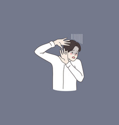 Anxious man fee frightened make stop hand gesture vector
