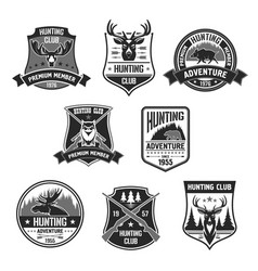 badges for hunter club or hunting adventure vector image
