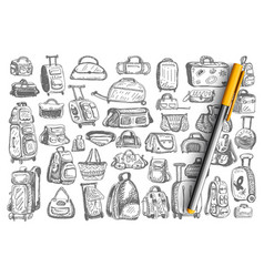 bags hand drawn doodle set vector image