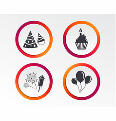 birthday party cake balloon hat and fireworks vector image