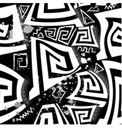 Black and white greek seamless pattern geometric vector