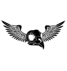 Black silhouette side skull with wings vector