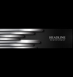 black technology banner with metallic stripes vector image
