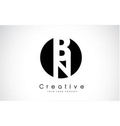 bn letter logo design inside a black circle vector image