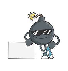 Bomb cartoon with sunglasses leaning on sign vector