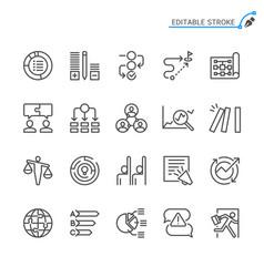 Business line icons editable stroke vector