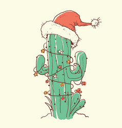 Cactus christmas red santa hat color hand drawn vector