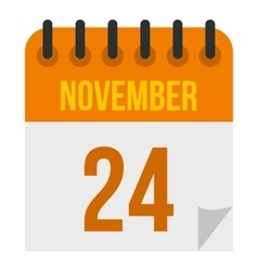 Calendar november twenty fourth icon flat style vector