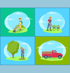 car lorry and people on land vector image