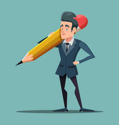 Cartoon businessman holding big pencil vector
