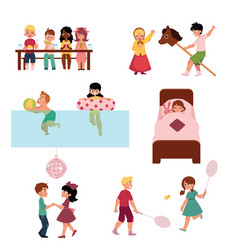 cartoon kids spending vacation in summer camp vector image