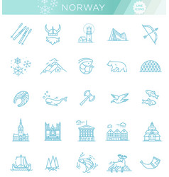 city sights icons norway landmark vector image