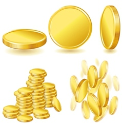 Collection icons of gold coins vector