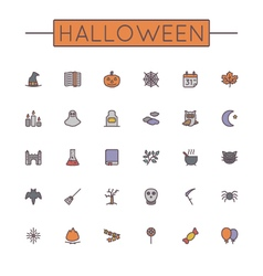 Colored Halloween Line Icons vector image