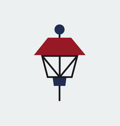 colored park lamp iconflat design vector image