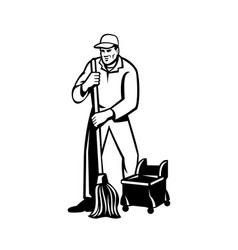 Commercial cleaner or janitor mopping cleaning vector