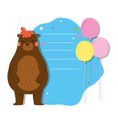 cute and little bear character vector image