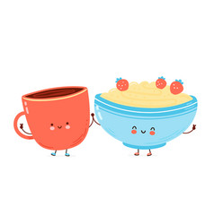 cute happy bowl oatmeal porridge and coffee cup vector image