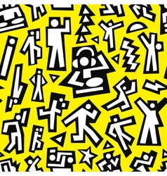 dancing people - seamless background vector image