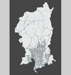 Detailed map kyoto city cityscape royalty free vector