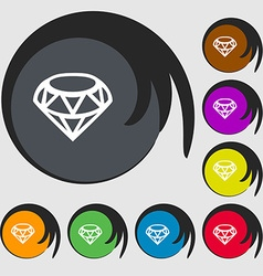 Diamond Icon sign Symbols on eight colored buttons vector