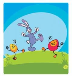 Easter rabbit and friends vector