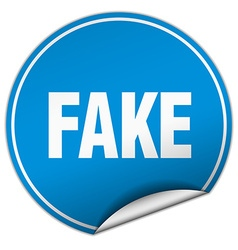 Fake round blue sticker isolated on white vector