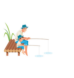 father and son fishing together vector image