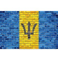 Flag of Barbados on a brick wall vector