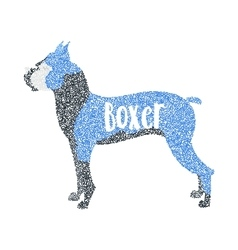 Form of round particles boxer dog breed vector