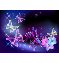 Glowing transparent flowers and butterfly vector
