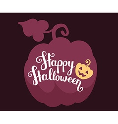 halloween with silhouette of pumpkin with te vector image