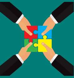 Hands putting puzzle together teamwork vector