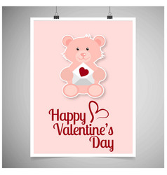 happy valentines day card with teddy vector image