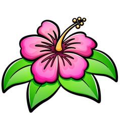 Hibiscus flower cartoon vector