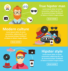 Hipster style banner horizontal set flat style vector